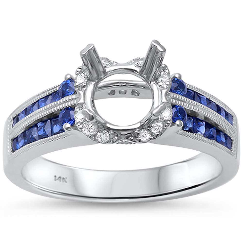 1.23cts 14k White Gold F SI Round Diamond & Blue Sapphire Semi Mount Ring
