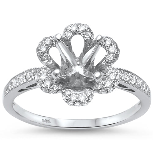 .36ct 14kt White Gold Flower Shaped Round Diamond Semi Mount Engagement Ring
