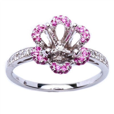 .41ct Flower Shape Pink Sapphire & Diamond Engagement Semi Mount Engagement Ring