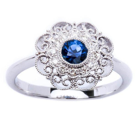 .43ct Blue Sapphire & Diamond Antique Style 14kt White Gold Gemstone Ring