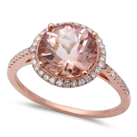 2.94cts Round Morganite Gemstone & Diamond 14k Rose Gold Ring Size 6.5