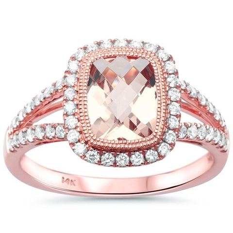 1.59cts Cushion Cut Morganite Gemstone & Diamond 14k Rose Gold Ring Size 6.5