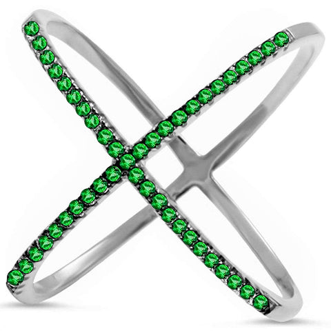 .35ct Emerald 14k White Gold Trendy Criss Cross Ring Size 6.5