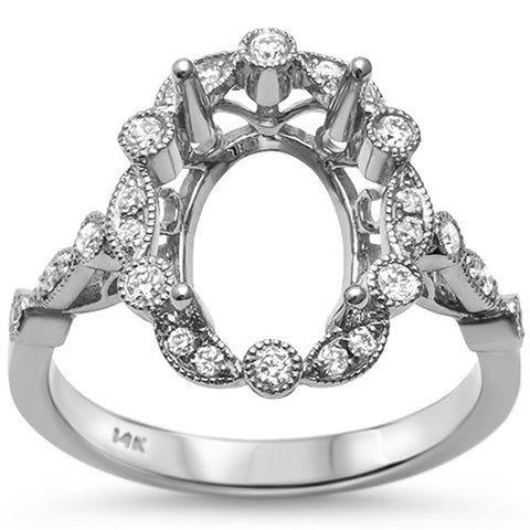 .26ct 14kt White Gold Antique Style Oval Diamond Semi Mount Ring