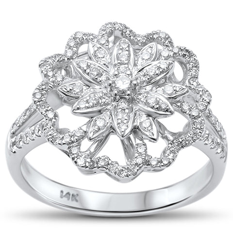 .54ct F VS2 14kt White Gold Diamond Flower Statement Cocktail Ring Size 6.5