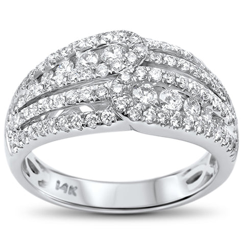 .99ct F VS2 14k White Gold Diamond Cocktail Wedding Band Ring Size 6.5