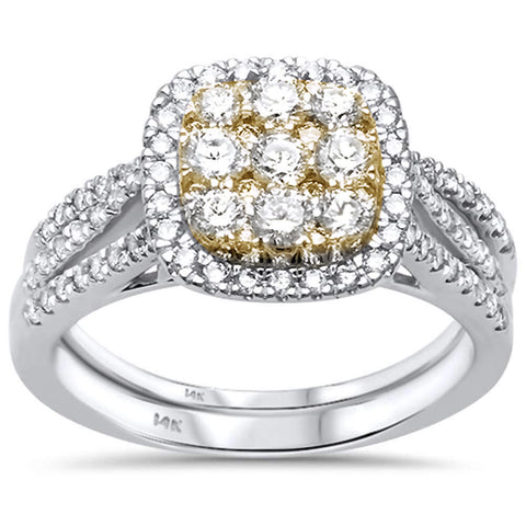 1.02ct 14ktTwo Tone Gold Diamond Engagement Wedding Ring Bridal Set 6.5