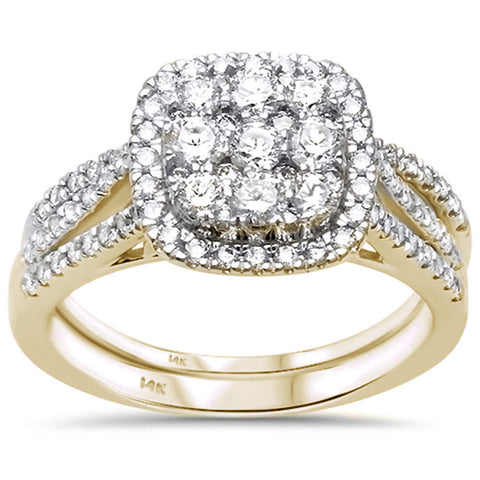 1.05ct 14k Yellow Gold Diamond Engagement Wedding Ring Set Size 6.5