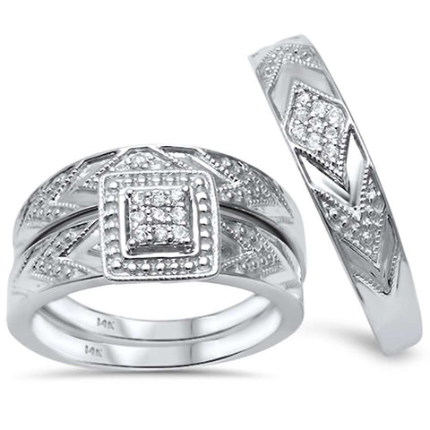 .19ct G SI 14kt White Gold His and Hers Diamond Ring Matching Set