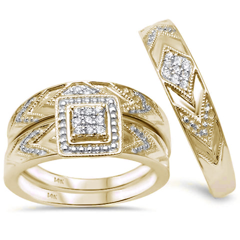.17cts 14k Yellow Gold Womens / Mens Diamond Engagement Ring Trio Set