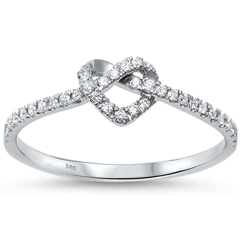 .15ct G SI 14kt White Gold Love Heart Knot Forever Diamond Ring Size 6.5