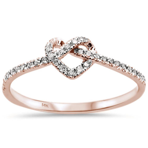 .16ct 14k Rose Gold Twisted Heart Infinity Diamond Ring Size 6.5