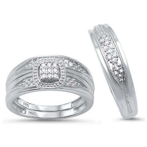 .18ct G SI 14kt White Gold His and Hers Diamond Ring Matching Bridal Set