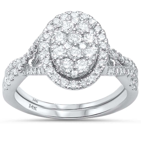 1.02ct G SI 14kt White Gold Oval Engagement Solitaire Diamond Ring Bridal Set