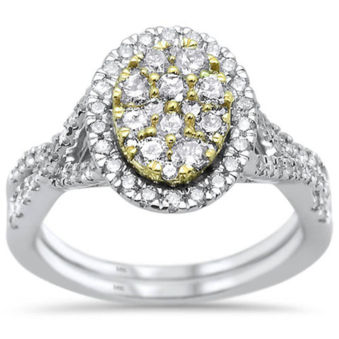 1.03ct 14k Two Tone Gold Oval Diamond Engagement Wedding Ring Size 6.5