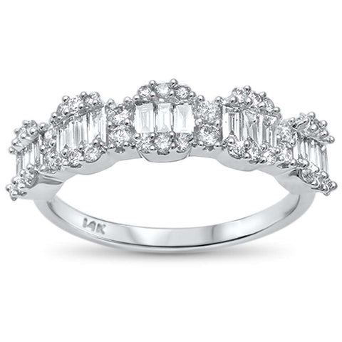 .74ct G SI 14kt White Gold Baguette & Round Diamond Band Ring Size 6.5