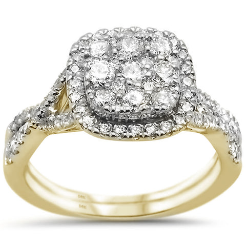 1.00ct 14k Yellow Gold Square Diamond Engagement Wedding Ring Size 6.5