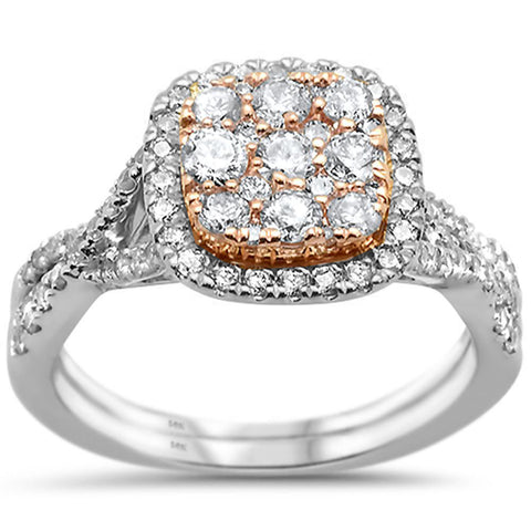 1.01ct 14k Two Tone Gold Square Diamond Engagement Wedding Ring Size 6.5