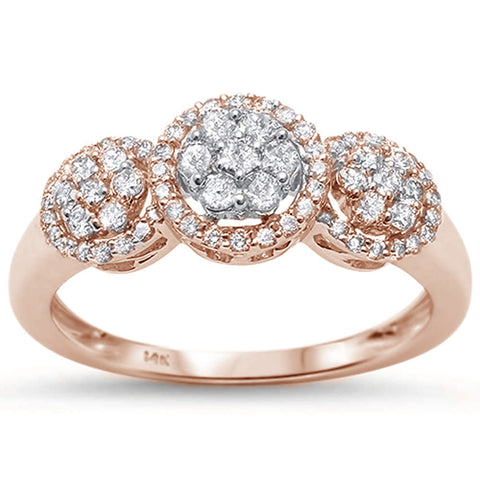 .51cts 14k Rose Gold Diamond Three Stone Engagement Ring Size 6.5
