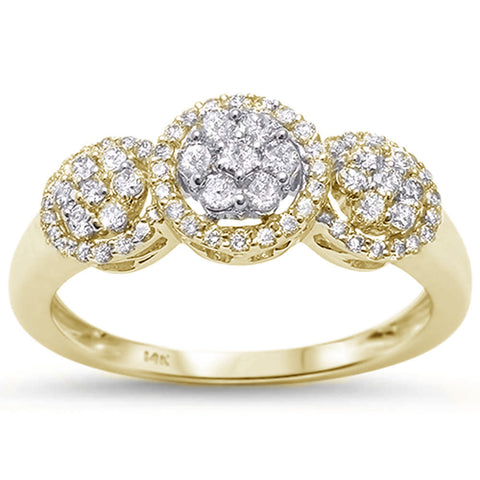 .53ct 14k Yellow Gold Diamond Three Stone Engagement Ring Size 6.5
