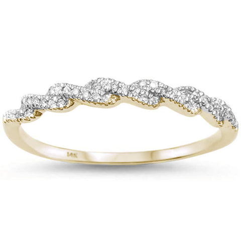 .11ct 14kt Yellow Gold Twisted Band Infinity Diamond Band Ring Size 6.5