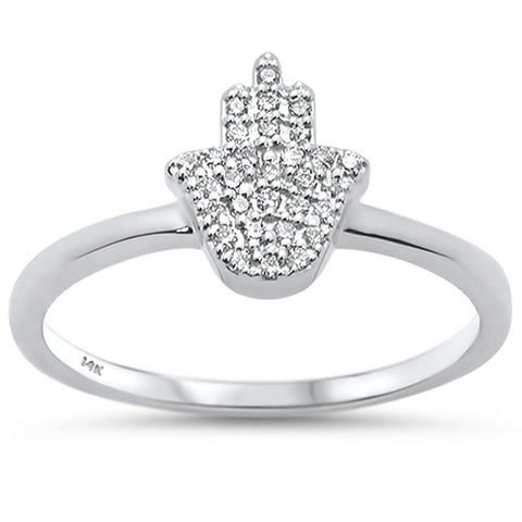 .11ct 14k White Gold Diamond Hand of Hamsa Chai Ring Size 6.5