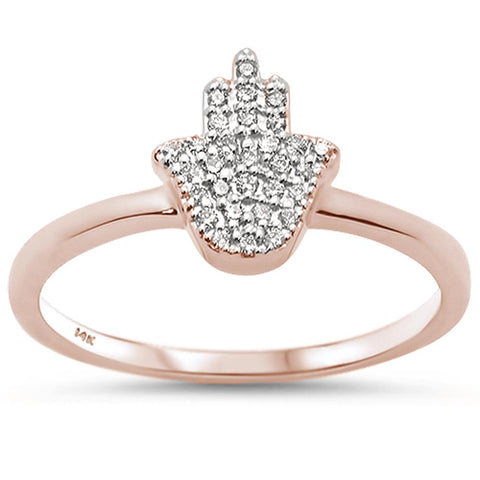 .11ct 14k Rose Gold Diamond Hand of Hamsa Chai Ring Size 6.5