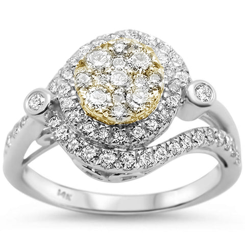 .97ct 14k Two Tone Gold Round Diamond Engagement Wedding Ring Size 6.5