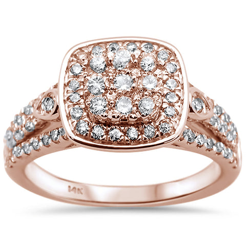 "<span style=""color:purple"">SPECIAL!</span>.99ct 14k Rose Gold Square Diamond Engagement Ring Bridal Set Size 6.5"