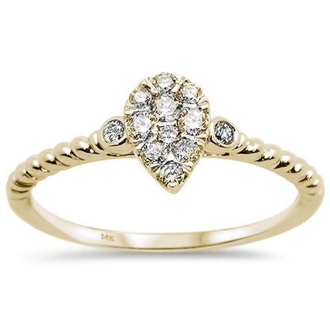 .26ct 14k Yellow Gold Pear Shape Solitaire Promise Diamond Ring