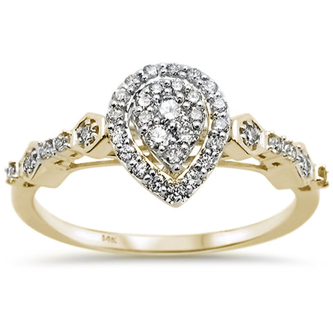 .31ct 14k Yellow Gold Pear Shaped Diamond Engagement Wedding Ring Size 6.5