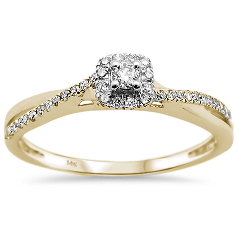 .20ct F SI 14k Yellow Gold Round Diamond Twisted Band Engagement Ring Size 6.5