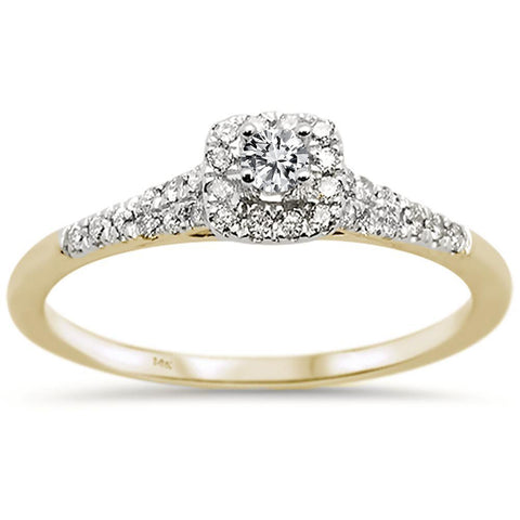 .35ct 14k Two Tone Gold Semi Mount Diamond Engagement Ring Size 6.5