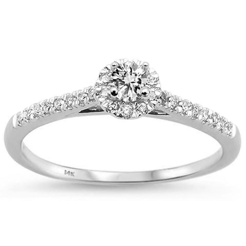 .33ct 14k White Gold Diamond Promise Engagement Ring Size 6.5