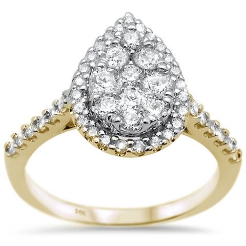 1.04ct 14k Yellow Gold Pear Cut Diamond Engagement Wedding Ring Size 6.5