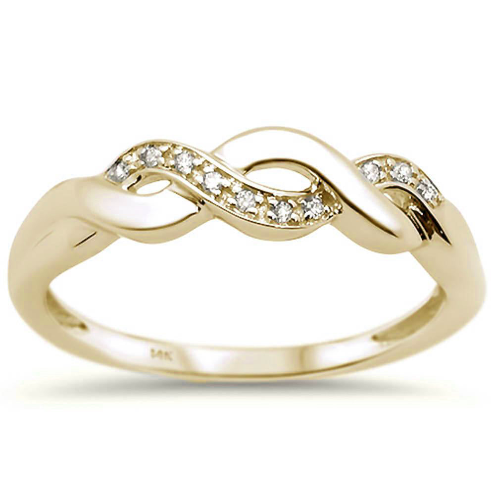.03ct 14k Yellow Gold Diamond Infinity Band Ring Size 6.5