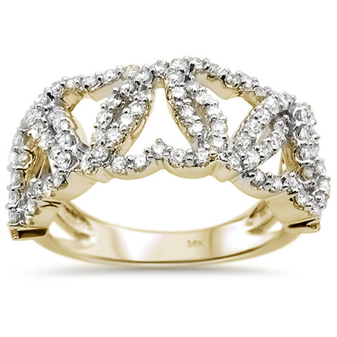 1.04ct 14k Yellow Gold Diamond Intertwined Hearts Ring Band Size 6.5