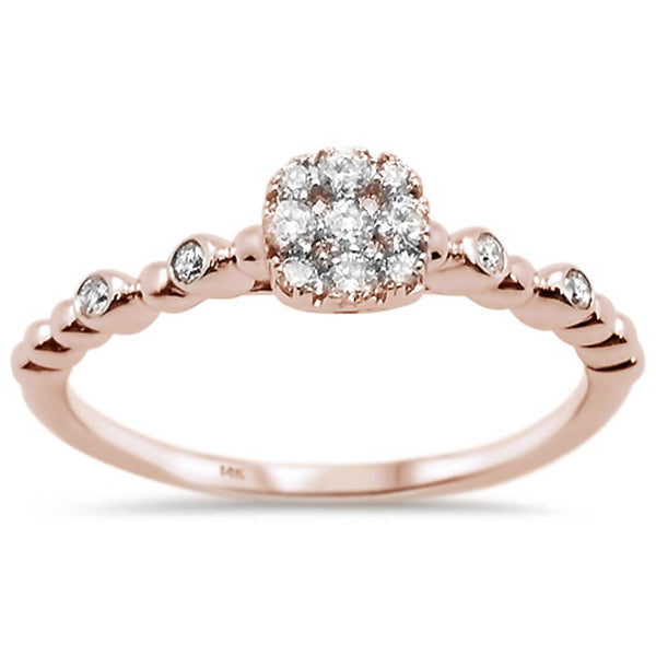 .25ct 14k Rose Gold Diamond Promise Engagement Ring Size 6.5