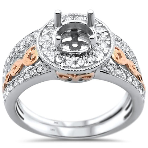 0.63cts 14k Two Tone Semi-Mount Diamond Ring Size 6.5