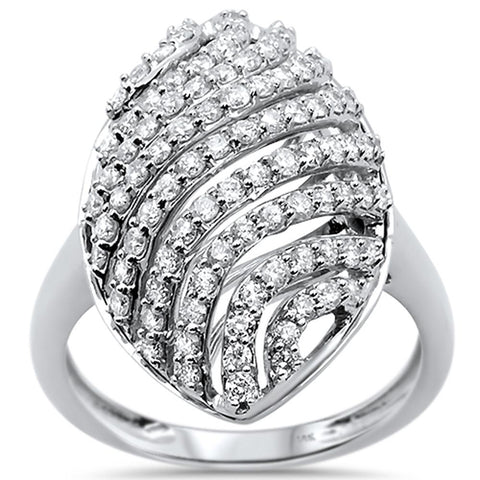 .97ct 14k White Gold Diamond Cocktail Statement Ring Size 6.5