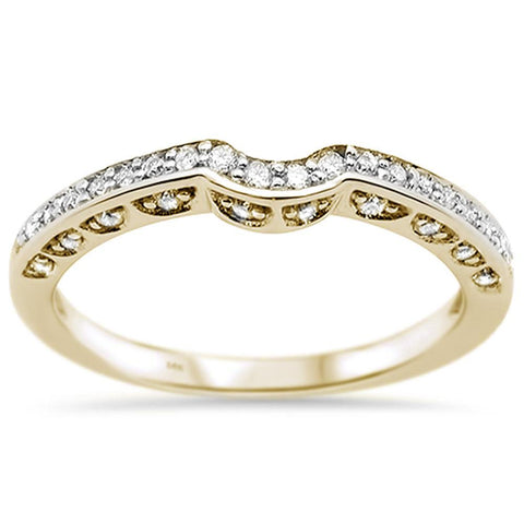 .20ct 14k Yellow Gold Diamond Curved Accent Anniversary Wedding Band Ring