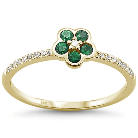 .29cts 14k Yellow gold Round Emerald Diamond Ring Size 6.5