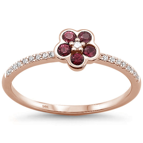 .31cts 14k Rose gold Round Ruby Diamond Ring Size 6.5