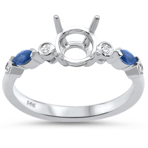 0.29cts 14k White gold Marquise Blue Sapphire Semi-Mount Diamond Ring