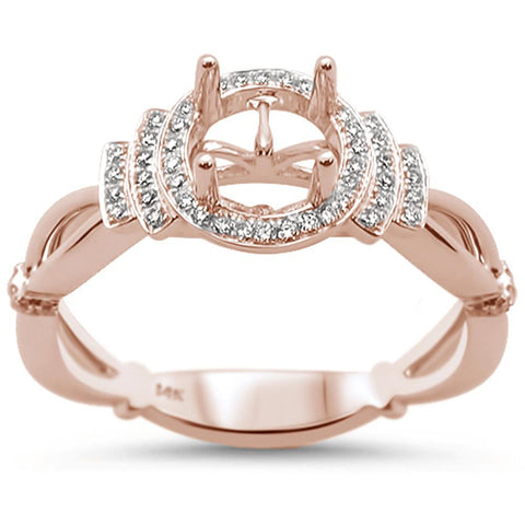 0.17cts 14k Rose Gold Semi-Mount Diamond Ring Size 6.5
