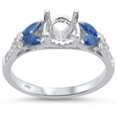 0.65cts 14k White gold Marquise Blue Sapphire Semi-Mount Diamond Ring