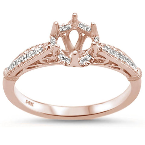0.16cts 14k Rose Gold Semi-Mount Diamond Ring Size 6.5