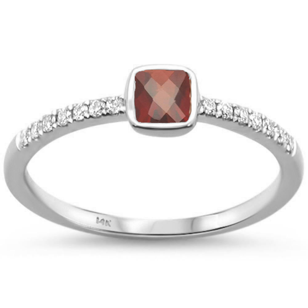 .51cts 14k White Gold Cushion Cut GARNET & Round Diamond Ring Size 6.5