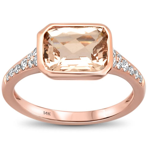 2.27cts 14k Rose Gold Emerald Cut Morganite & Diamond Ring Size 6.5
