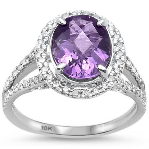 3.09cts 10k White Gold Oval Amethyst Diamond Ring Size 6.5